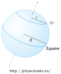 Radii of rotation on the Equator and on the 50th circle parallel north